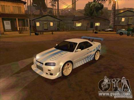 Nissan Skyline GT-R R34 2 Fast 2 Furious for GTA San Andreas