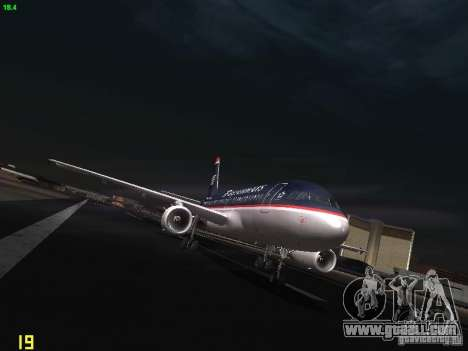 Airbus A319 USAirways for GTA San Andreas back view