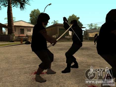 The fight with the katanas on Grove Street for GTA San Andreas third screenshot