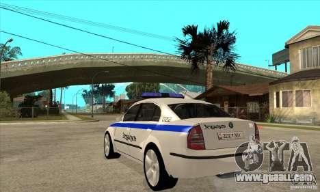 Skoda SuperB GEO Police for GTA San Andreas back left view