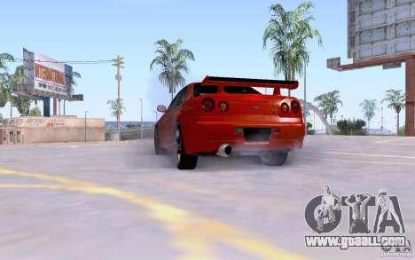 Nissan Skyline R34 GT-R for GTA San Andreas back left view