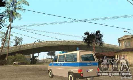 Volkswagen Transporter T4 German Police for GTA San Andreas back left view