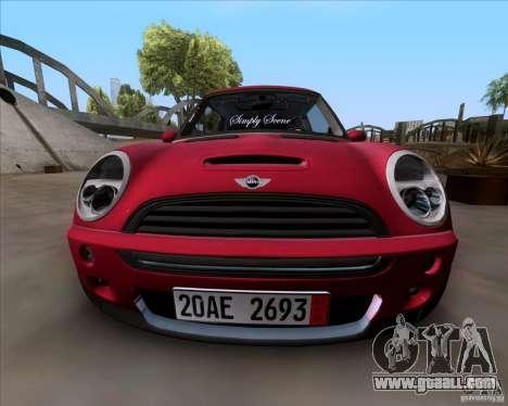Mini Cooper S Euro for GTA San Andreas back left view