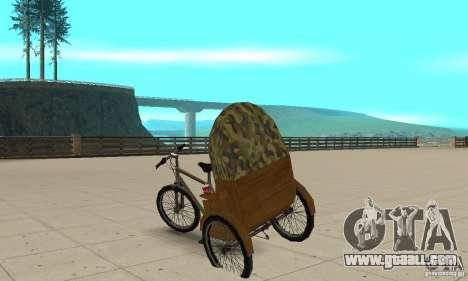 Manual Rickshaw v2 Skin2 for GTA San Andreas back left view