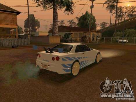 Nissan Skyline GT-R R34 2 Fast 2 Furious for GTA San Andreas back left view