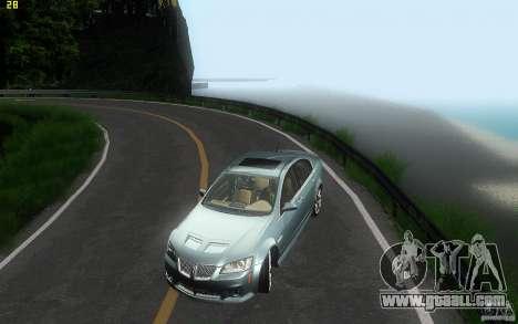 Pontiac G8 GXP 2009 for GTA San Andreas upper view