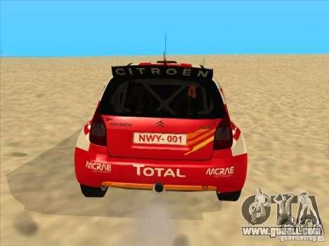 Citroen Rally Car for GTA San Andreas back left view