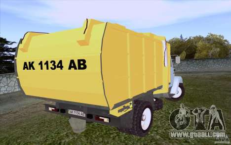 ZIL 4331 garbage truck for GTA San Andreas back left view