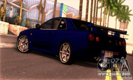 Nissan Skyline R34 GT-R Tunable for GTA San Andreas left view