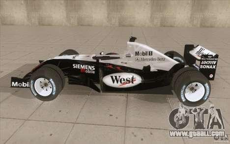 McLaren Mercedes MP 4-19 for GTA San Andreas left view