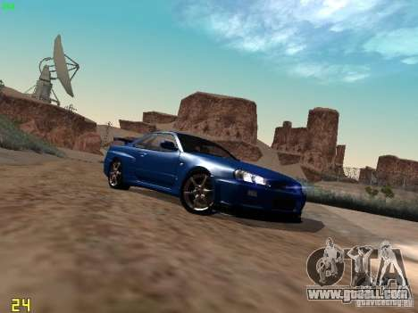 Nissan Skyline GT-R R34 V-Spec for GTA San Andreas back left view