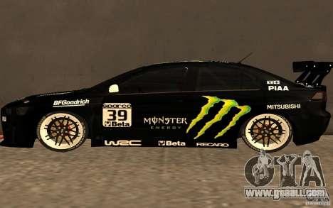 Mitsubishi Lancer Evolution X Monster Energy for GTA San Andreas left view