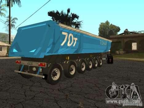 Twelve-wheel semi-trailer-tipper TONAR 95231 for GTA San Andreas back left view