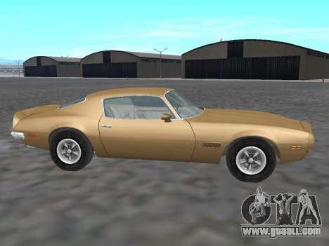 Pontiac Firebird Trans Am 1970 for GTA San Andreas left view