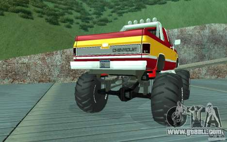 Chevrolet Silverado 2500 MonsterTruck 1986 for GTA San Andreas right view