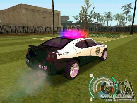 Dodge Charger Policia Civil from Fast Five for GTA San Andreas back left view
