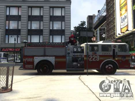 Fire Truck FDNY for GTA 4 back left view