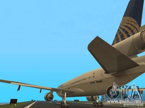 McDonell Douglas DC10 Continental Airlines for GTA San Andreas back left view
