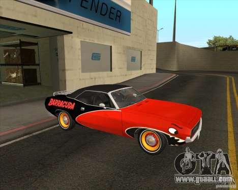 Plymouth Cuda Ragtop 1970 for GTA San Andreas back view