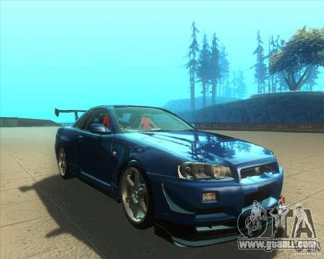 Nissan Skyline GT-R R34 M-Spec Nur for GTA San Andreas back view