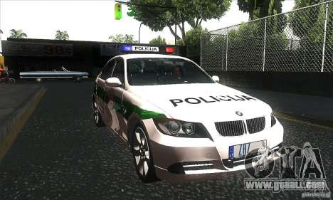 BMW 330 E90 Policija for GTA San Andreas back view