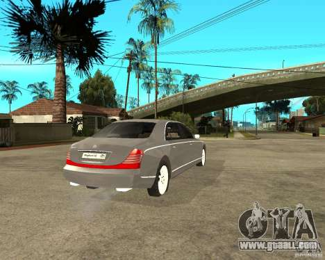 Maybach 62 for GTA San Andreas back left view