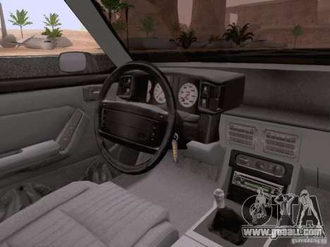 Ford Mustang GT 5.0 Convertible 1987 for GTA San Andreas bottom view