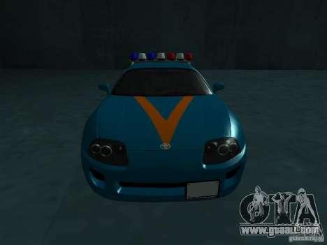 Toyota Supra California State Patrol for GTA San Andreas back view