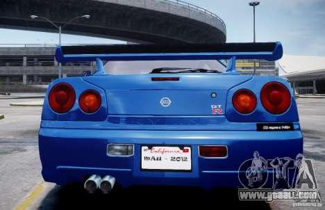 Nissan Skyline GT-R R34 Mspec for GTA 4 back left view