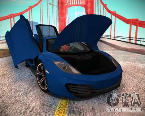 McLaren MP4-12C 2012 for GTA San Andreas back left view