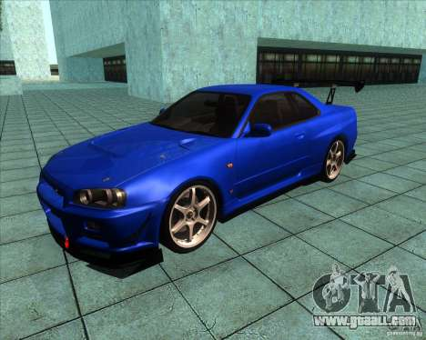 Nissan Skyline R-34 GT-R M-spec Nur for GTA San Andreas left view