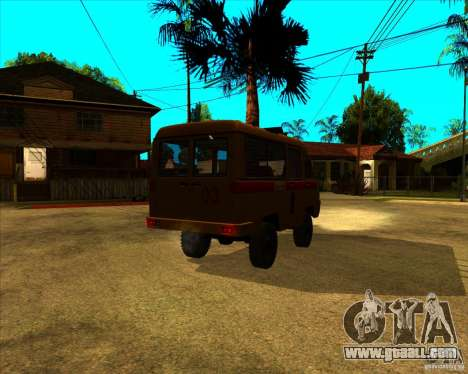 UAZ 3962 Medical for GTA San Andreas back left view