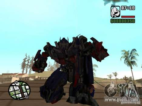 Optimus Prime for GTA San Andreas second screenshot
