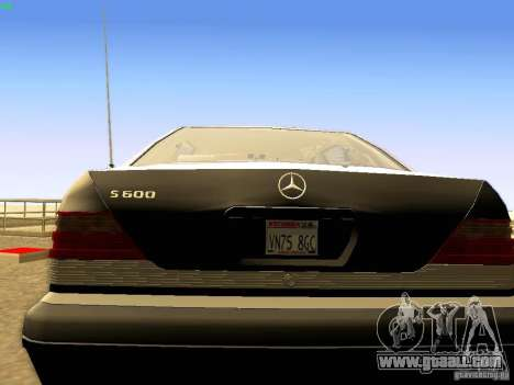 Mercedes-Benz S600 V12 for GTA San Andreas back left view