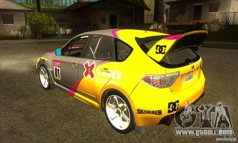 Subaru Impreza WRX STi X GAMES America of DIRT 2 for GTA San Andreas back left view