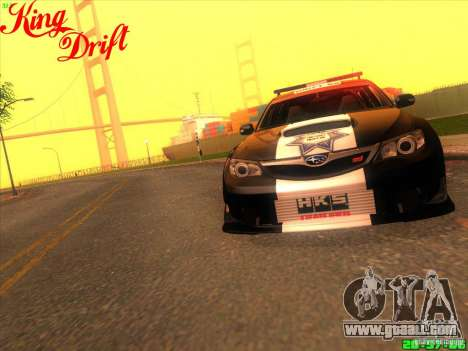 Subaru Impreza WRX Police for GTA San Andreas back view