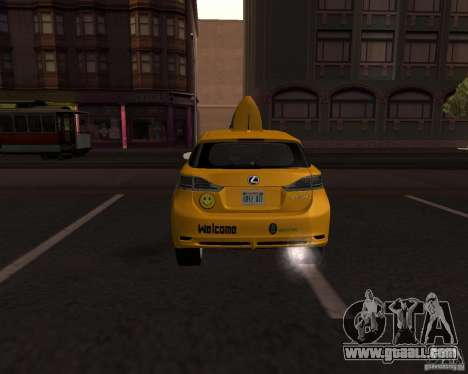 Lexus CT 200h 2011 Taxi for GTA San Andreas back left view