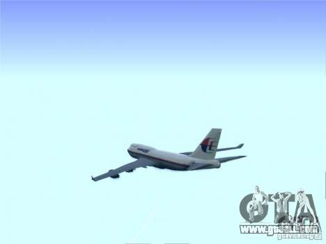 Boeing 747-400 Malaysia Airlines for GTA San Andreas inner view