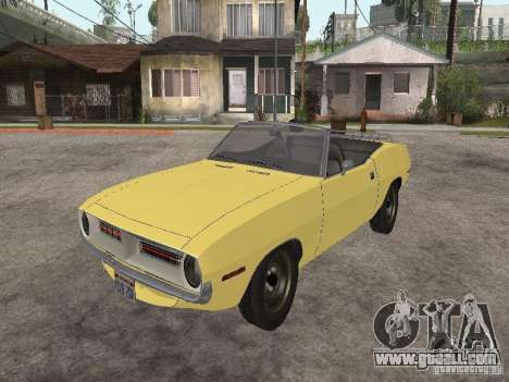 Plymouth Barracuda Rag Top 1970 for GTA San Andreas back view