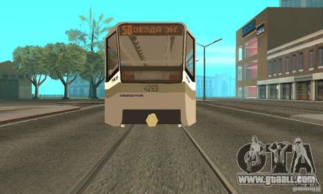 Tramcar 71-619 CT (KTM-19) for GTA San Andreas back left view