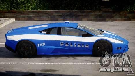 Lamborghini Reventon Polizia Italiana for GTA 4 back left view