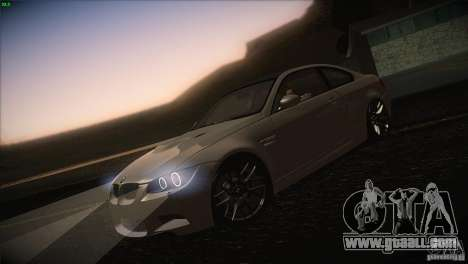 BMW M3 E92 for GTA San Andreas bottom view