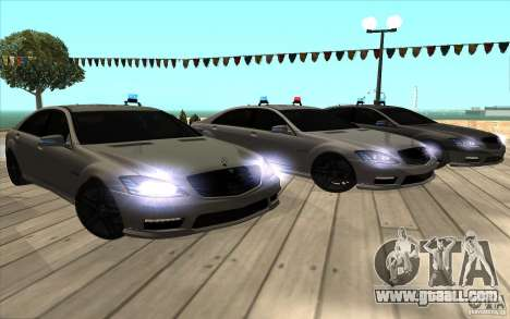 Mercedes-Benz S65 AMG with flashing lights for GTA San Andreas upper view