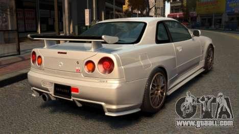 Nissan Skyline R34 2002 for GTA 4 back left view
