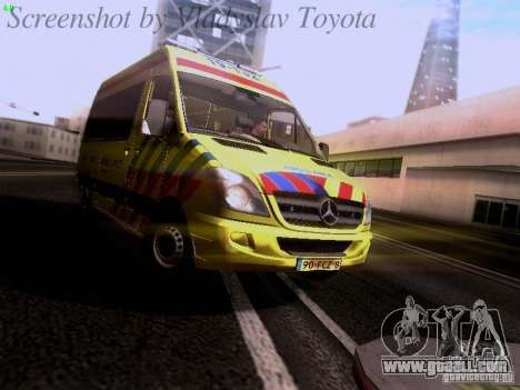 Mercedes-Benz Sprinter Ambulance for GTA San Andreas left view