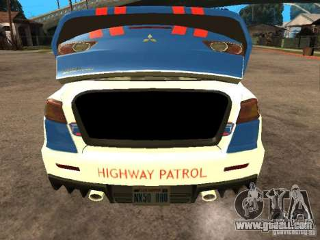 Mitsubishi Lancer X Police Indonesia for GTA San Andreas back view