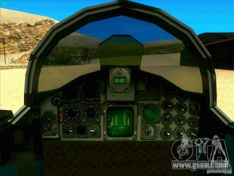F-5E Tiger for GTA San Andreas inner view