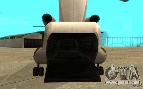 GTA SA Chinook Mod for GTA San Andreas back view
