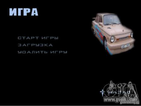 The new game menu for GTA San Andreas