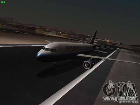 Airbus A319 United Airlines for GTA San Andreas left view
